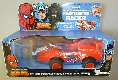 Vintg 1985 Secret Wars Spiderman Remote Control Racer Car Buddy L Action Figure
