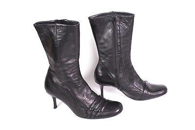 #25S Rollini Damen Stiefel Leder schwarz Gr. 39 Pfennigabsatz Lederfutter