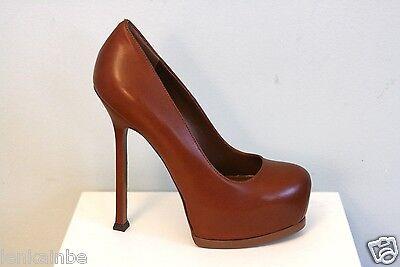 Kyпить YSL Yves Saint Laurent Tribtoo 105 Nappa Cognac Brown Pumps Shoes 40.5 10.5 $795 на еВаy.соm