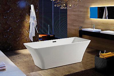 "Modern White Acrylic Freestanding 67"" Bathroom Soaking Shower Rectangle Bath Tub"