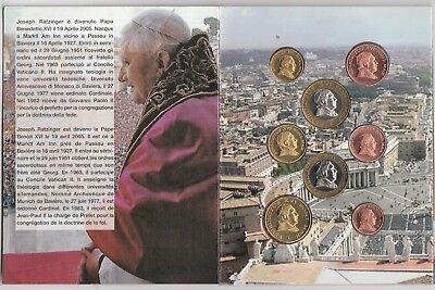 VATICANO BENEDETTO BENEDICTUS XVI EURO PATTERN PROTOTYPE 8 COIN FDC UNC LIMITATA