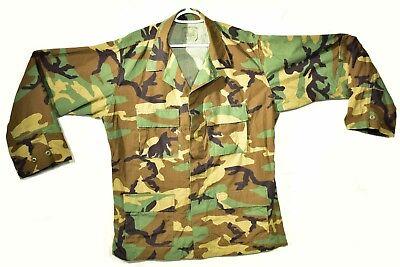 Vintage US Army BDU Top Blouse Shirt Woodland Camo Large Regular