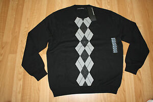 NWT Mens PERRY ELLIS PORTFOLIO Black Argyle Sweater Size XL