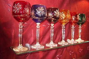 6 Römer Kristallgläser geschliffen 24% Bleikristall Bunte Rotweingläser Gläser