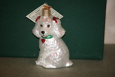 White Poodle Old World Christmas glass ornament