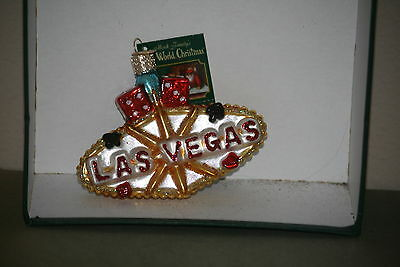 Las Vegas Sign Old World Christmas Glass Ornament