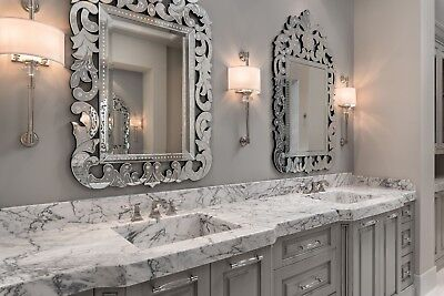 """TWO NEW VENETIAN Arched Crown Ornate Wall Vanity Hall Buffet Mirrors 56"""" Horchow"""