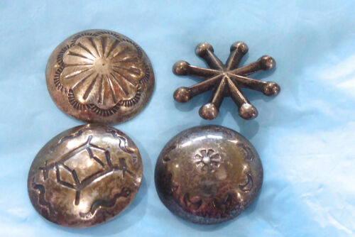 """(4) EARLY STERLING SILVER HAND MADE NAVAJO CONCHO BUTTONS 1"""" HORSE DESIGN BUTTON"""