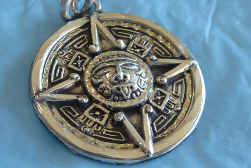 VINTAGE STERLING SILVER MEXICAN GOD FACE PENDANT BELL 23 HALLMARK