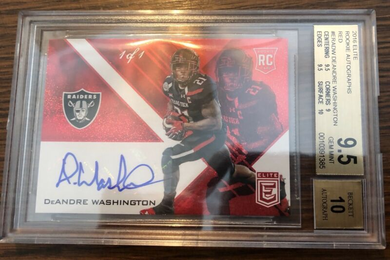 2016 DeAndre Washington Auto Panini Donruss Elite RED 1/1 Refractor RC BGS 9.5