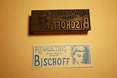 1960s Printing Letterpress Printer Block Decorative Print Cut Bischoff