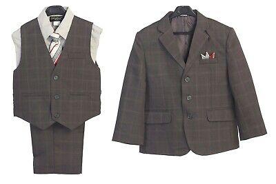 Boys Suit Gray Plaid Toddler Kids Graduation Wedding Party Vest Suit Size 5-20