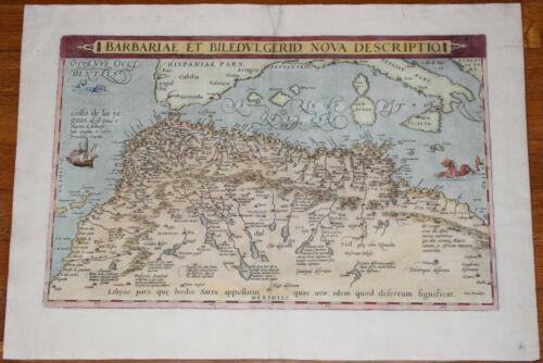 """1570 Ortelius map of North Africa - 19.7"""" x 13"""" - Antique - Superb color"""