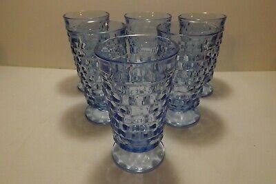 Set of 6 Light Blue Colony Whitehall Footed Iced Tea Glasses 6