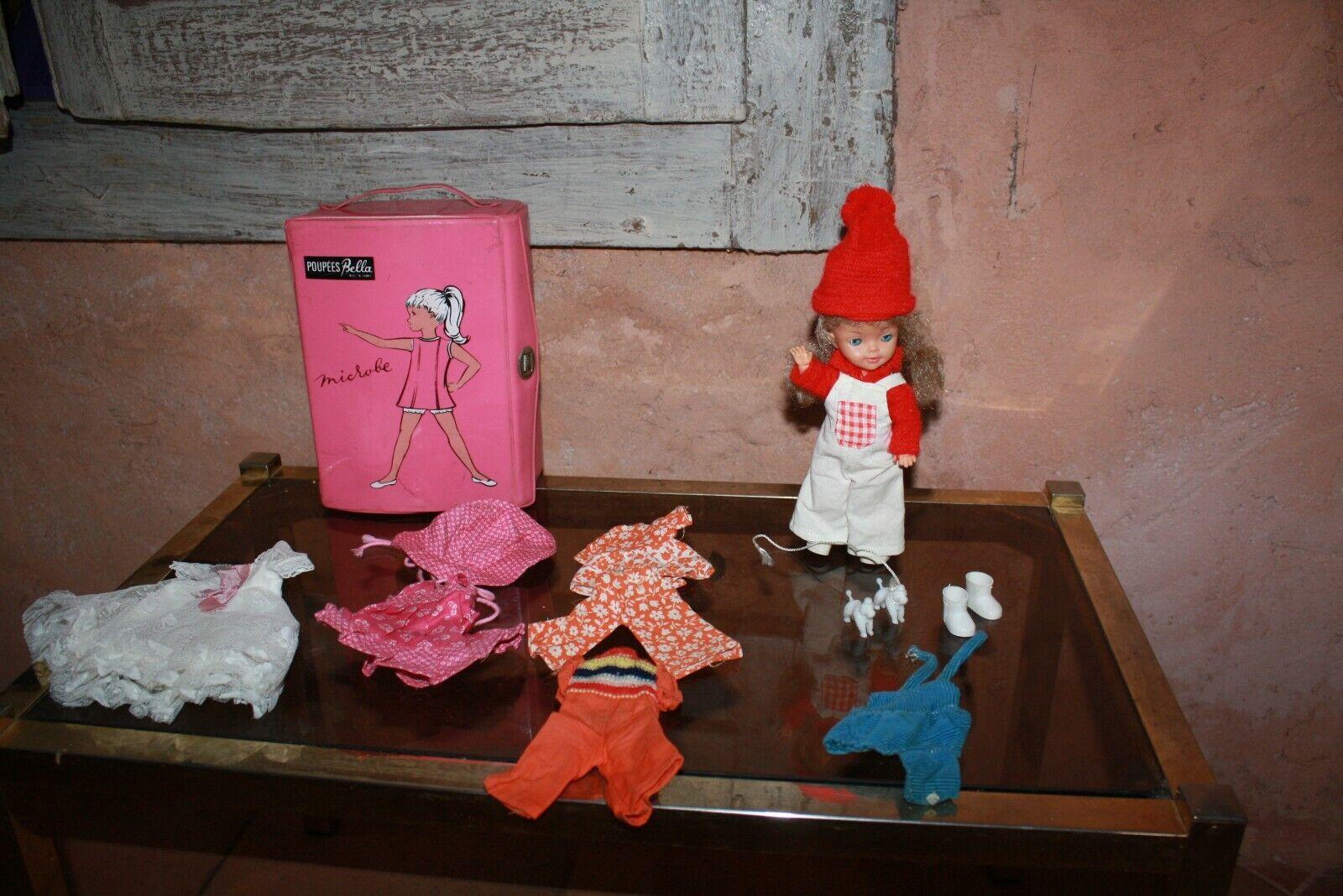 jouet ancien poupée manequin bella microbe + malette + tenues + caniches