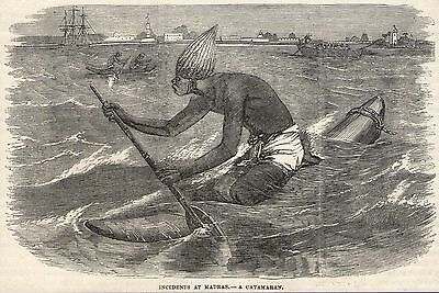 1879 ENGRAVING~NATIVE IN A CATAMARAN~MADRAS/CHENNAI INDIA~Original Antique~Boats