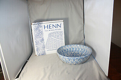 Roseville Workshops of Gerald E. Henn Blue Spongewear Medium Pasta Bowl, NIB