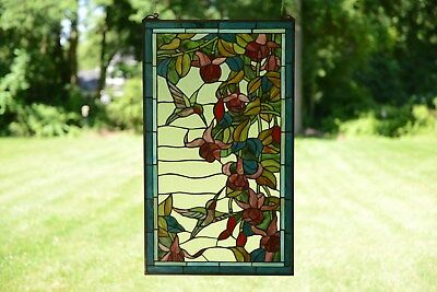 """20"""" x 34"""" Large Handcrafted stained glass window panel Hummingbirds & Flower"""