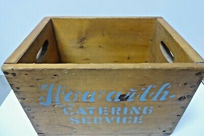 VINTAGE WOODEN CRATE HOWARTH CATERING SERVICE CARRY BOX DINNER PLATES