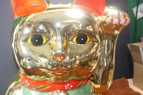 "BIG 16"" SHINY GOLD MANEKI NEKO WAVING CAT CERAMIC COIN BANK NICE!"