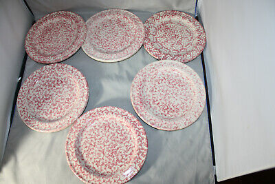 "Roseville Workshops of Gerald E. Henn  Red Spongeware  7 1/2 "" Plate, Lot of 6"