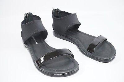 Donald J Pliner Black Gelda Flat Zip Up Heel Sandals Sz 5M NWOB $238