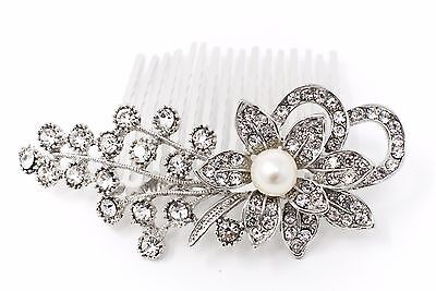 USA Bridal Flowers Pearl Hair Comb with Clear Austrian Crystal wedding comb