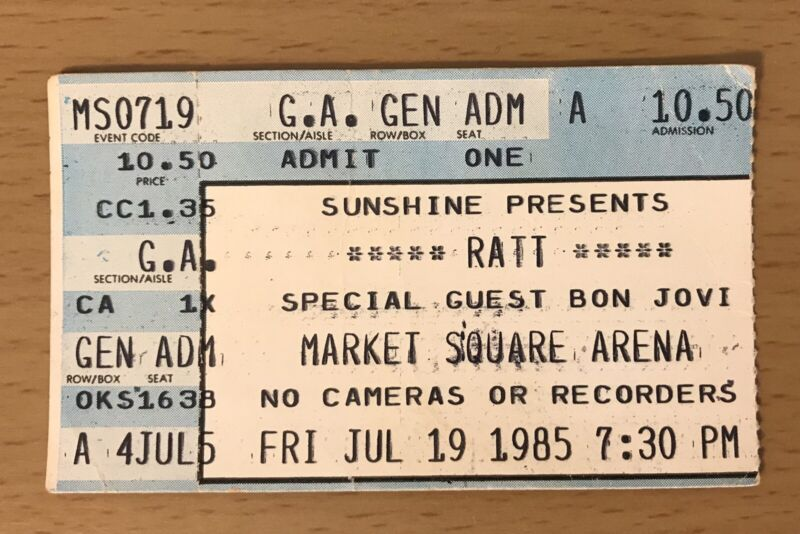 1985 RATT / BON JOVI INDIANAPOLIS CONCERT TICKET STUB INVASION OF YOUR PRIVACY A