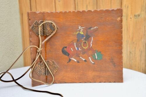 Vintage Hand Painted and Etched Cowboy on Horse Wooden Scrapbook Cover 1950