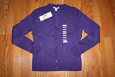 NWT Womens KENNETH COLE REACTION Purple Button Up Cardigan Sweater L/S Size S