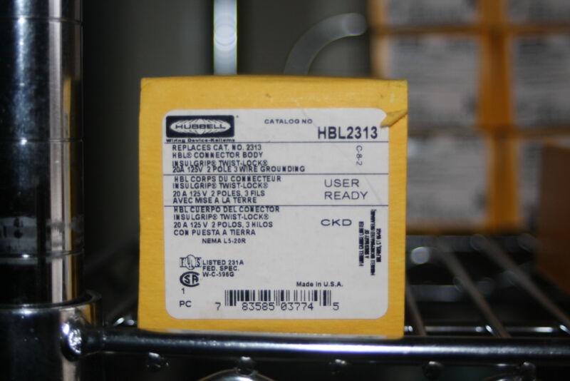 Hubbell 2313 2P3W, 20A 125V, L5-20R, Black & White Nylon, HBL2313