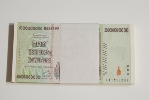 50 Trillion Zimbabwe x 10 2008 series AA/100T series Consecutive Uncirculated