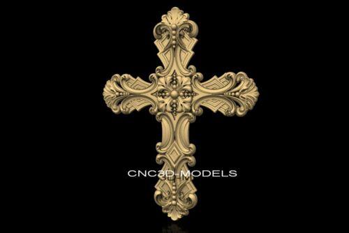 3D Model STL for CNC Router Engraver Carving Artcam Aspire Religion Cross f434