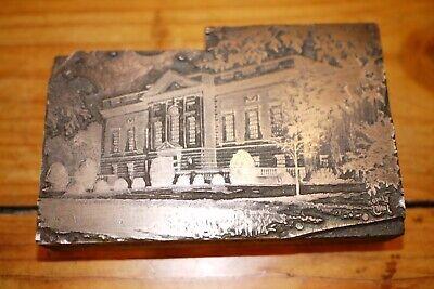 Vintage Printing Letterpress Printers Block Cut Public Building Library School