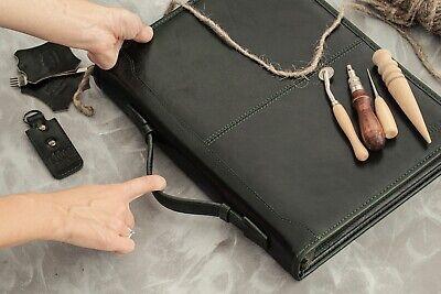 Green 3 Ring Binder Leather Portfolio A4 Zippered Portfolio With Handle