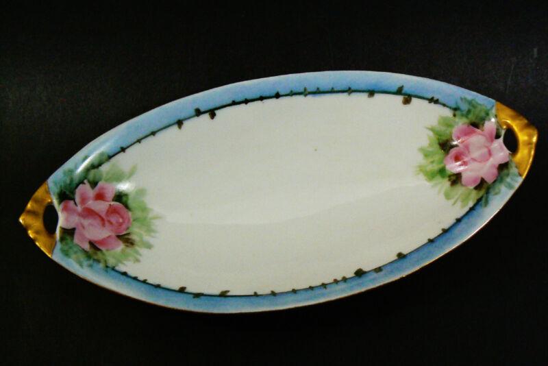 E. S. Germany Porcelain Gold Blue Trim Pink Rose serving decorative oval dish