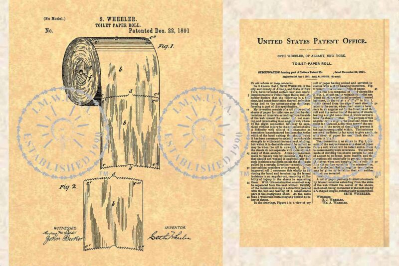 US PATENT for the First TOILET PAPER ROLL Issued to Seth Wheeler in 1891 PM#904