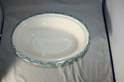 Roseville Workshops of Gerald E. Henn Blue /Green Spongeware  Oval Serving Bowl