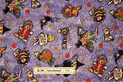 Suzy's Zoo Pumpkin Patch Purple Halloween Toss Children Cotton Fabric  BTY (F) - Purple Halloween Pumpkin