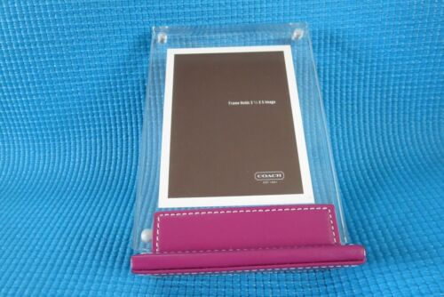Authentic COACH Pink Leather Base Lucite 3.5x5 inch Picture Frame