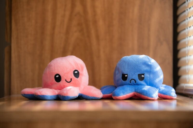 Happy/Sad Reversible Octopus Plush (pink/blue) Ships in 1-3 Days!