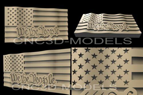 3D STL Model for CNC Router Engraver Carving Artcam Aspire USA Flag America D8