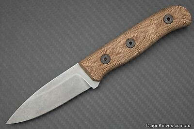 Fiddleback Forge Hiking Buddy S35VN Steel Natural Canvas Micarta Leather Sheath