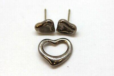 Tiffany & Co. Elsa Peretti Small Closed Heart Stud Earrings & Open Heart Pendant
