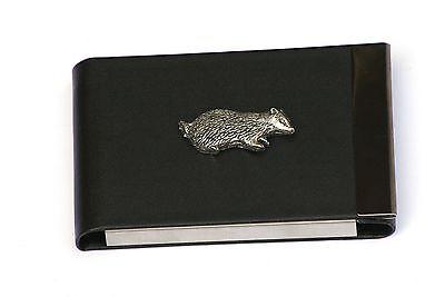 Badger Design Black PU and Metal Business or Credit Card Holder Gift