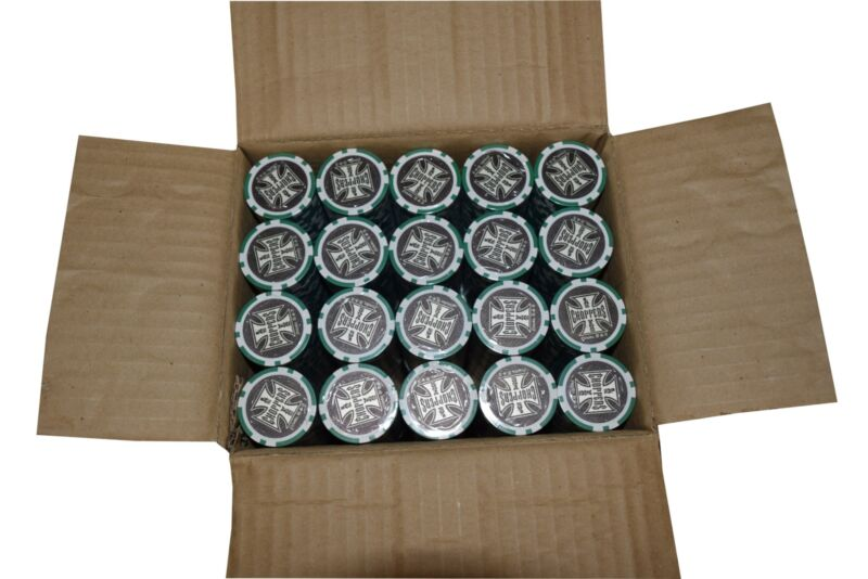 1000 Poker Green Chips Las Vegas Choppers Clay Composite 11.5 gr GREAT DEAL *