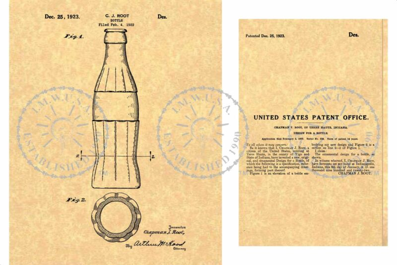 1923 Chapman Root Coca-Cola COKE CHRISTMAS/XMAS Bottle PATENT Art Print PM#958