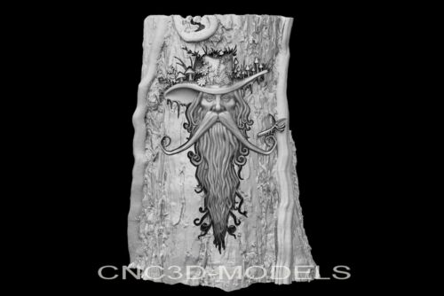 3D Model STL for CNC Router Carving Artcam Aspire Man Tree Wood Gandalf g923