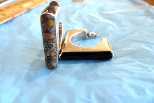 VINTAGE .925 STERLING made in MEXICO BLACK ONYX JASPER SQUARE SEMI HOOP EARRINGS