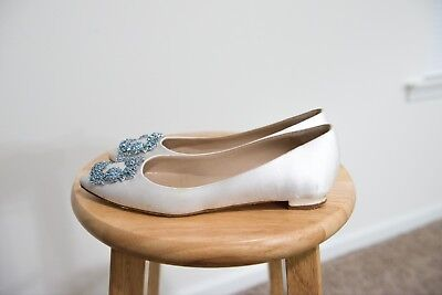 Manolo Blahnik White Satin Hangisi Ballet Flats Size 7